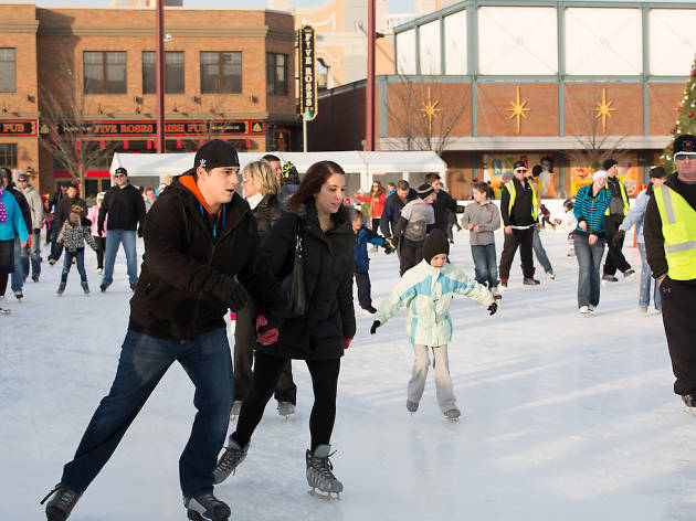 Ice skating in Rosemont.