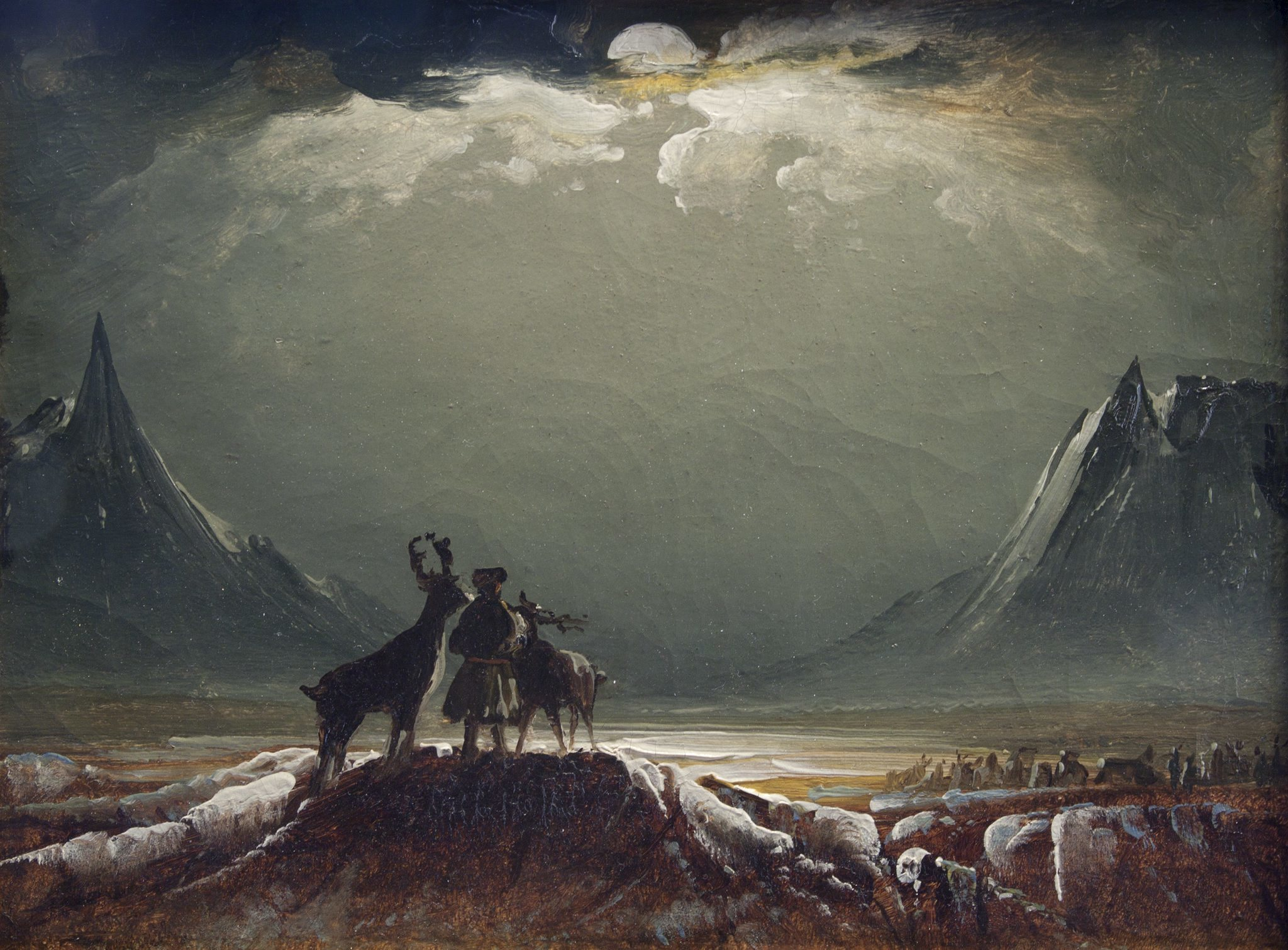 ('Landscape from Finnmark with Sámi and Reindeer', about 1850)