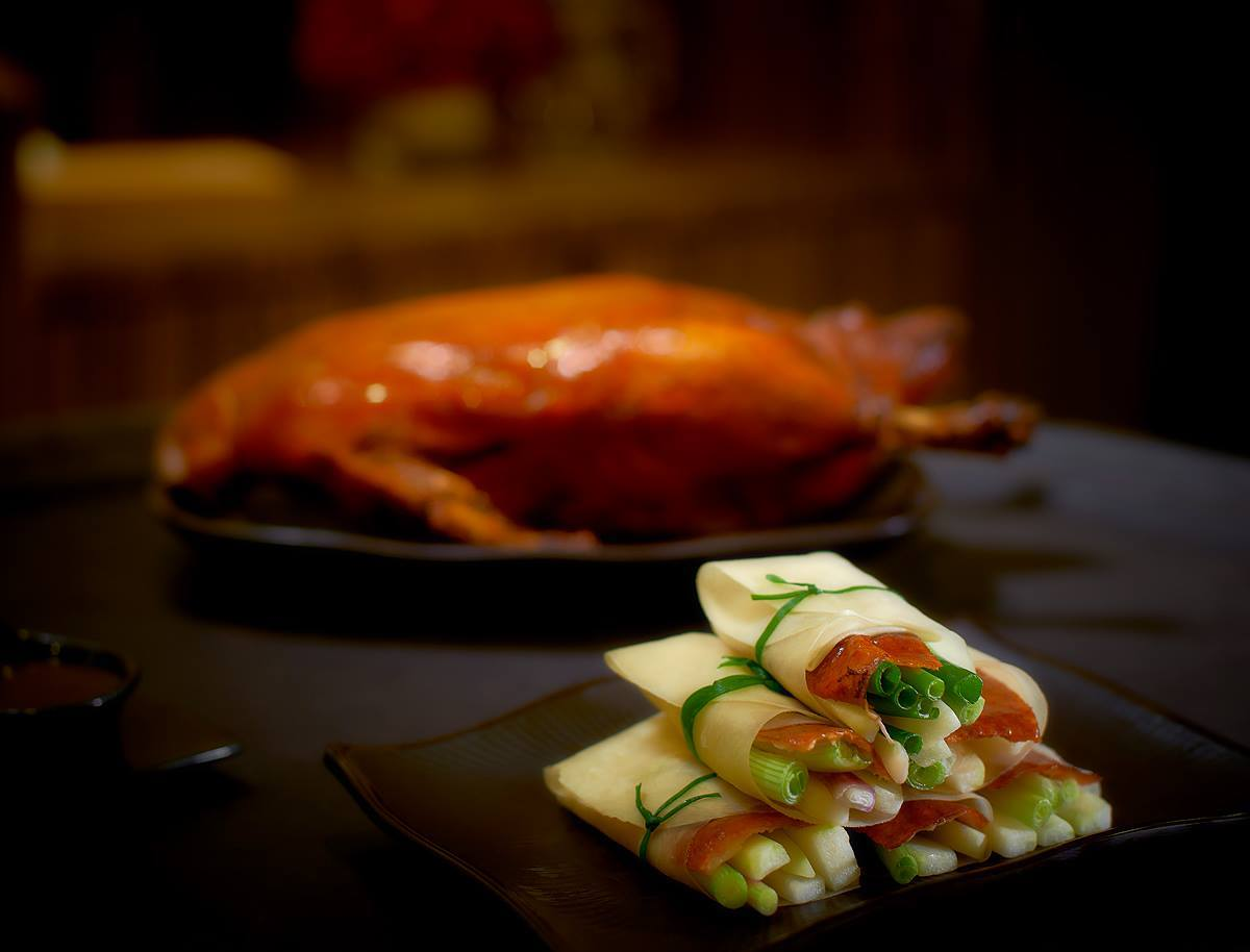 Traditional crispy Peking duck at Maple Palace