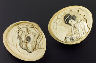 (Ivory shell, divides into two halves, on one half is a female genitalia, on the other is a carving of a female looking at an erotic picture, Oriental, © Science Museum)
