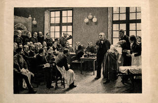 (Jean-Martin Charcot demonstrating hysteria in a patient at the Salpetriere)