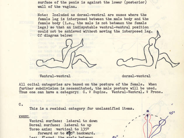 "(Page with notes and diagrams titled ""Definition of Coital Postures"" © The Kinsey Institute)"