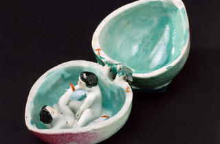 (Porcelain fruit, hinged, contains male and female copulating, Oriental, © Science Museum, London and Wellcome Collection)