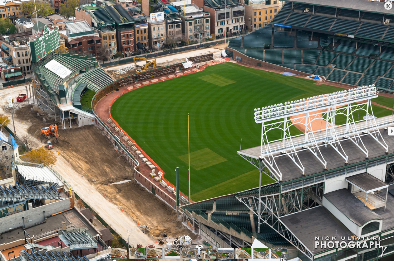 Photographer Nick Ulivieri captured these images of the Wrigley field construction from a helicopter.