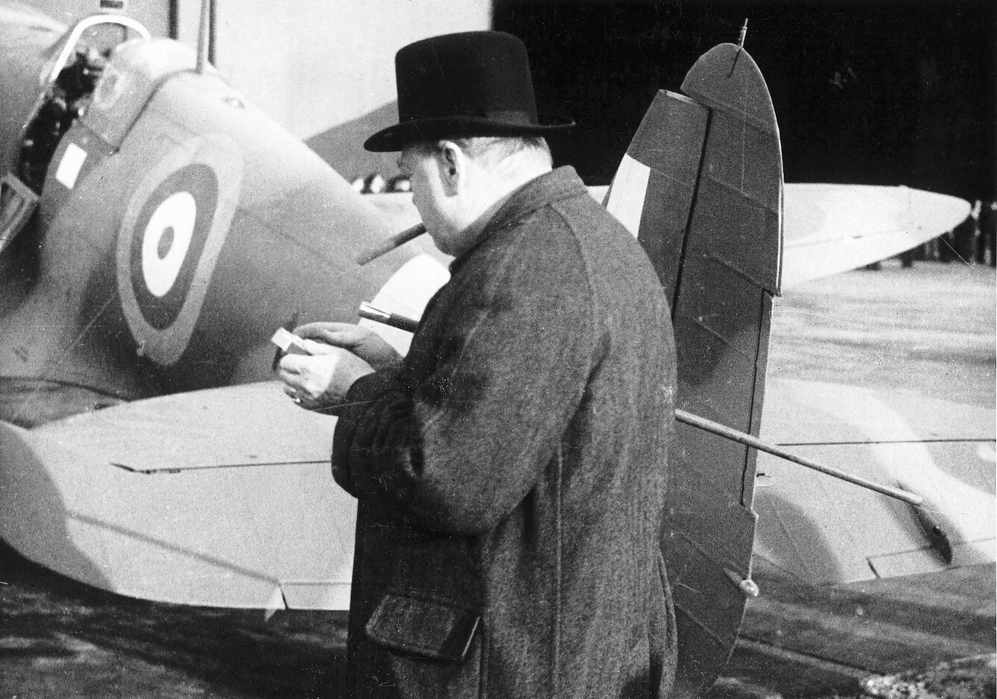 (Churchill with a Spitfire from Castle Bromwich © Philip Insley, CBAF Archive, Vickers Archives)