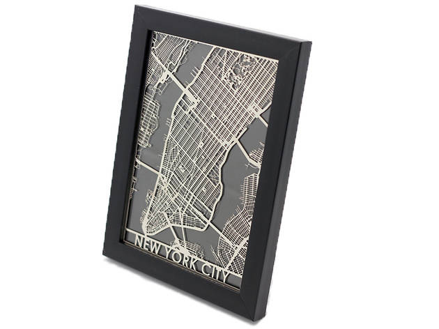 CutMaps Stainless Steel New York City map, $30, at etsy.com-shop-cutmaps