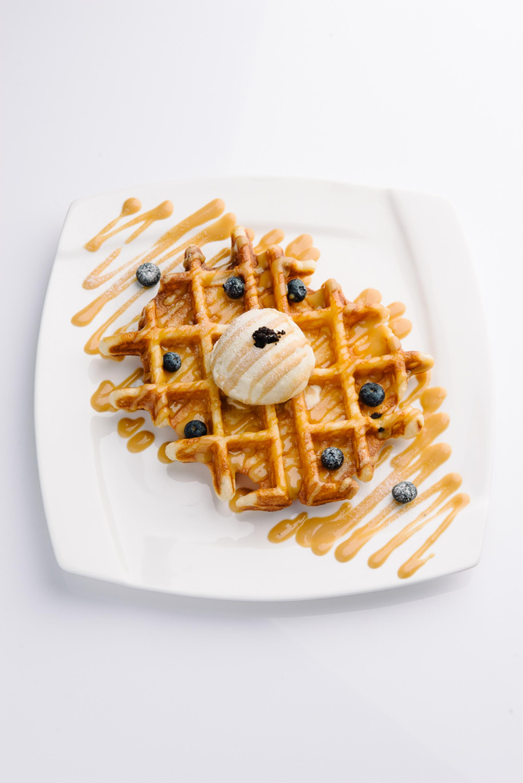 Whoa-ffle with Pandan Ice-cream & Gula Melaka