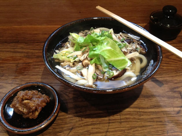 Walnut miso udon with mushrooms at Koya Bar