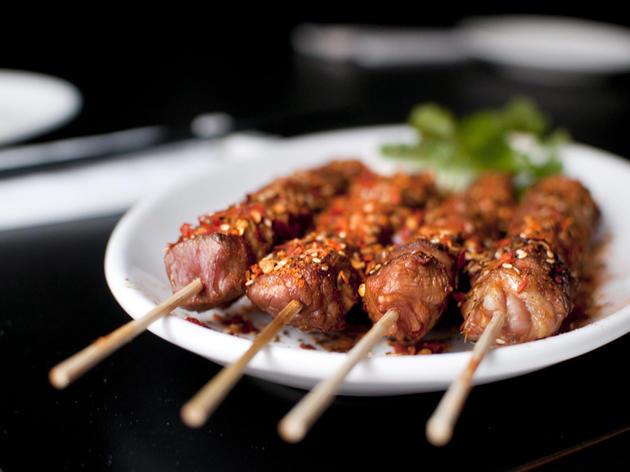 Chilli lamb skewers at Manchurian Legends