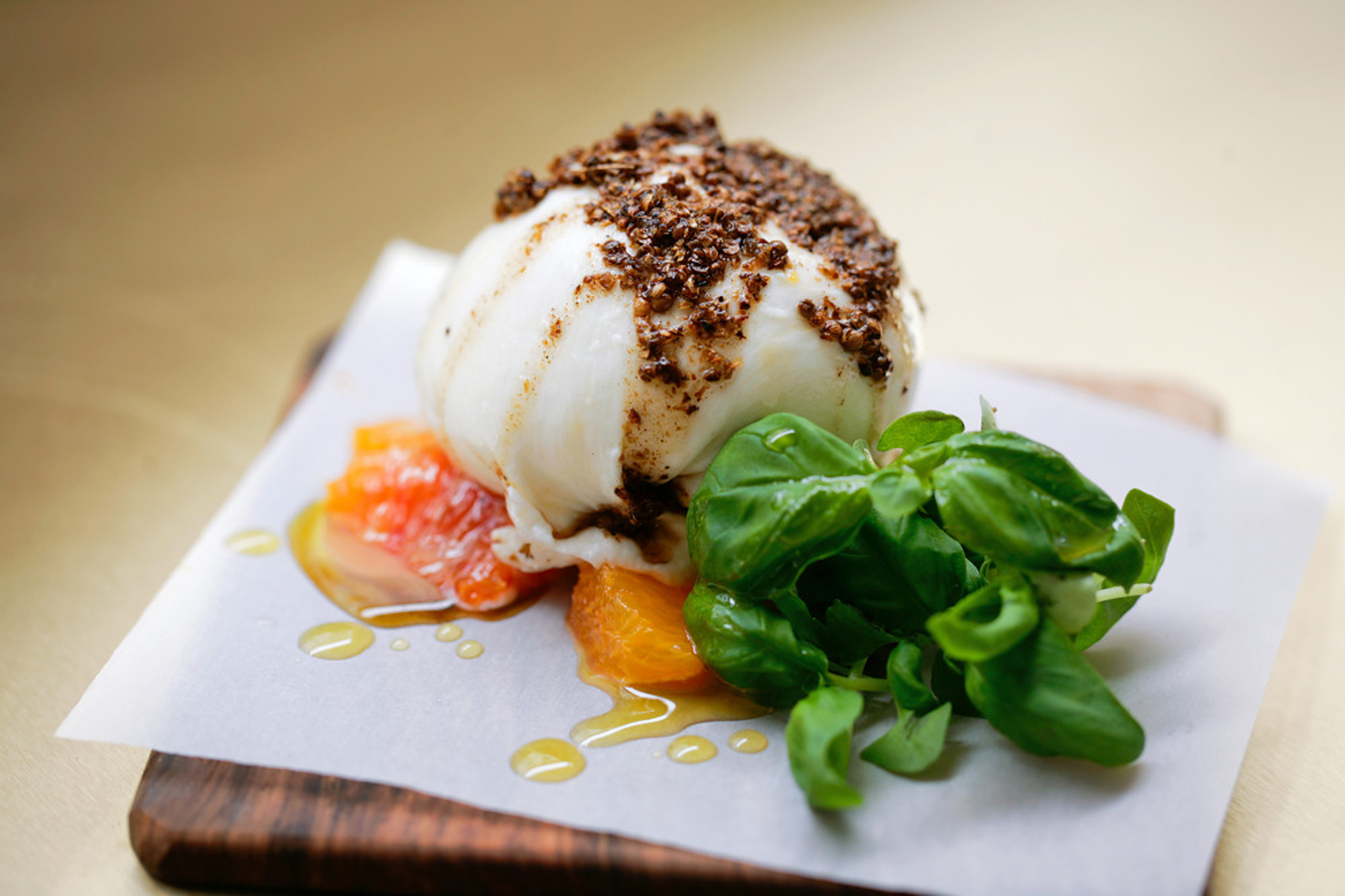 Burrata with Miyagama and coriander seeds at NOPI