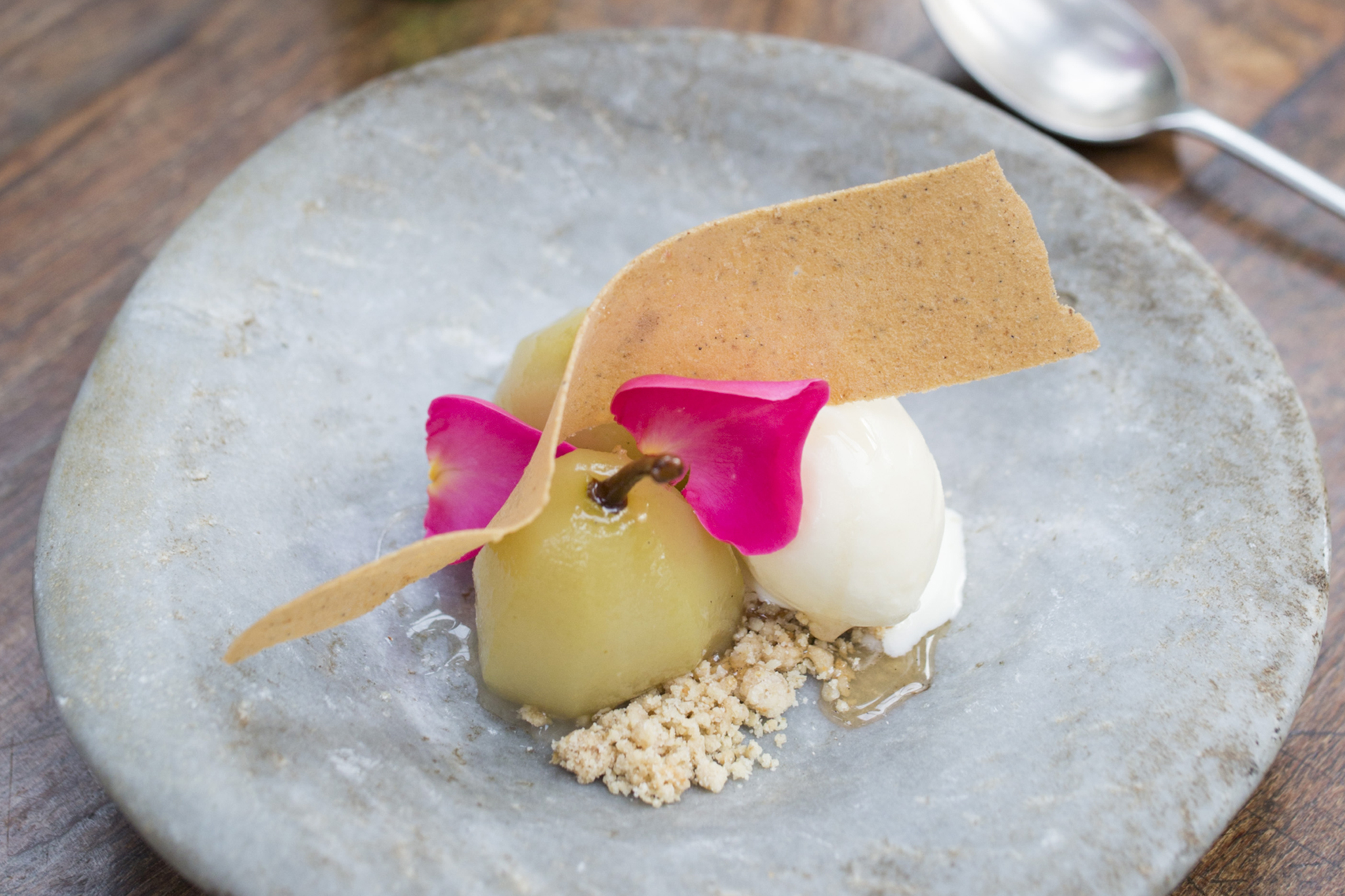 100 best dishes in London - petersham nurseries cafe - poached pear and rose petals