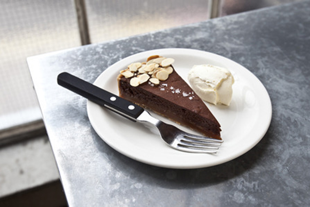 100 best dishes in London - pizza east - chocolate salted caramel tart