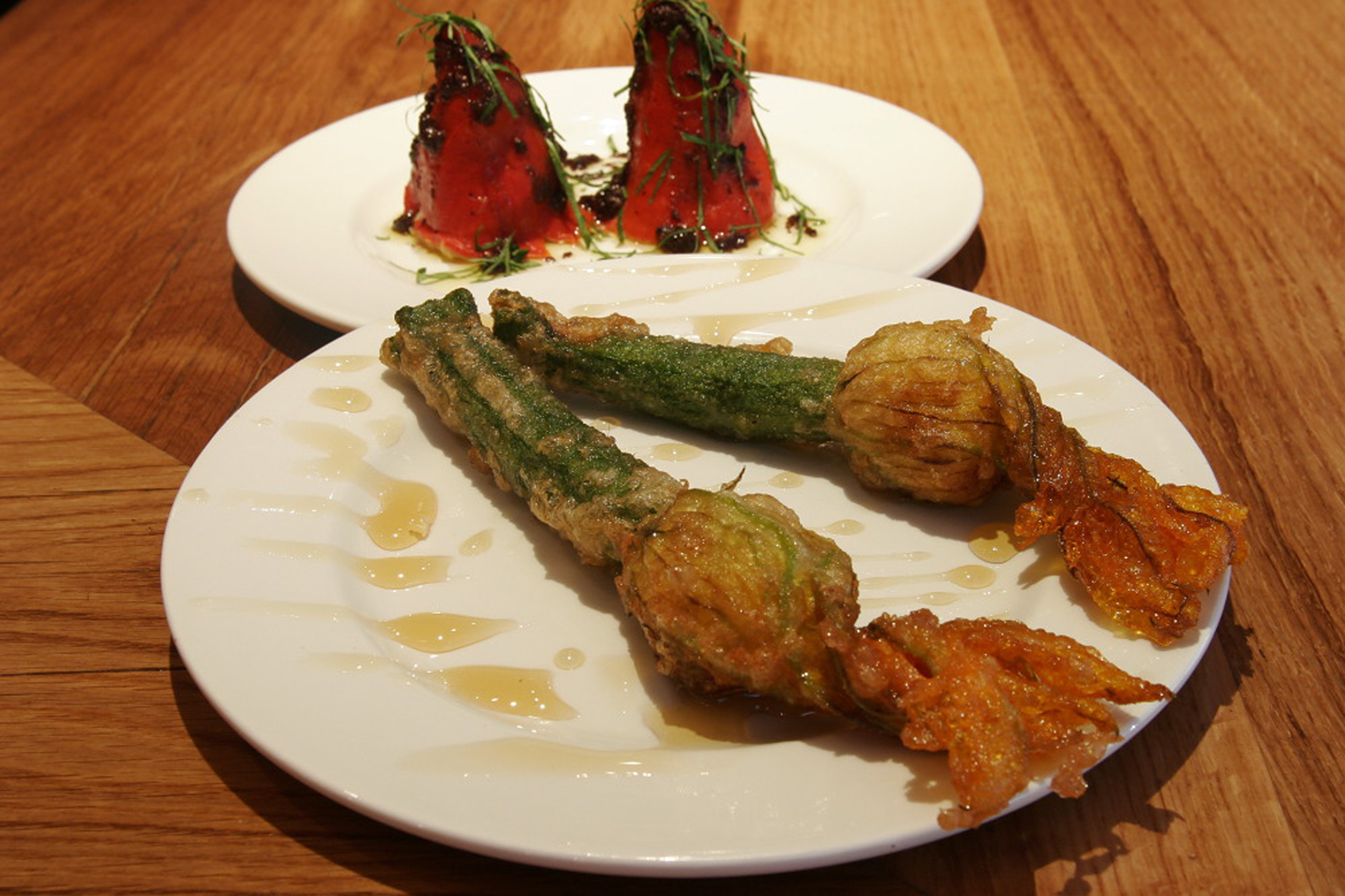 Goats' cheese-stuffed courgette flowers with lavender honey at Salt Yard