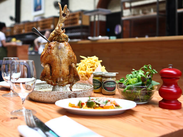 Roast barn-reared Indian Rock chicken with stuffing and chips at Tramshed