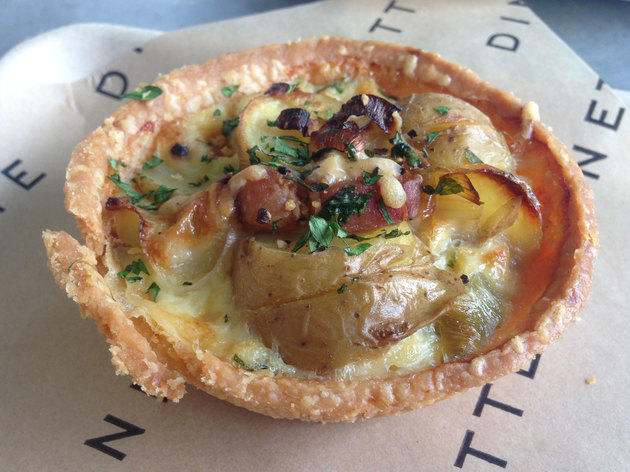 <p>Potato, leek and bacon tart at Dinette</p>
