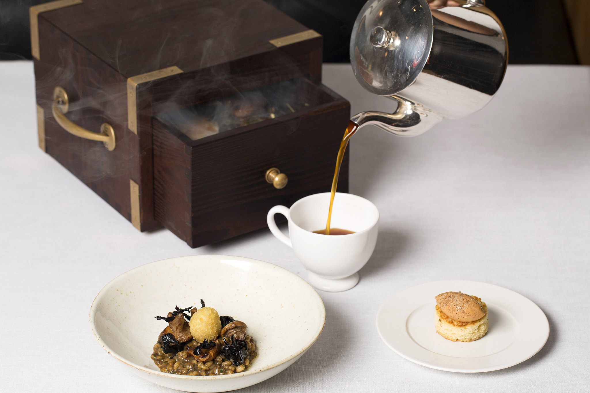 Quail brunch with 'cereal', 'tea' & 'toast' at Pollen Street Social