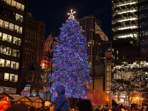Photos of the 101st annual Christmas tree lighting in Daley Plaza