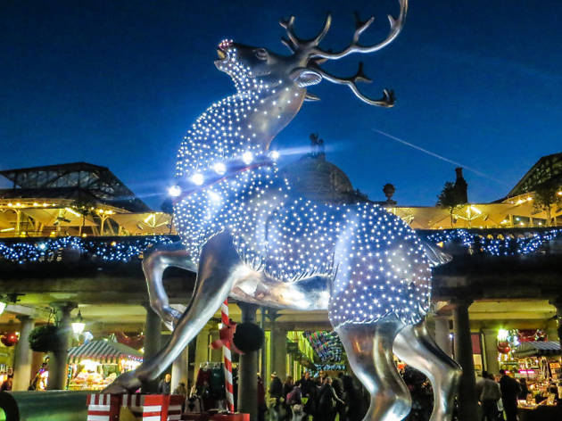 reindeer, christmas lights