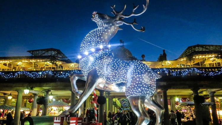 reindeer, christmas lights