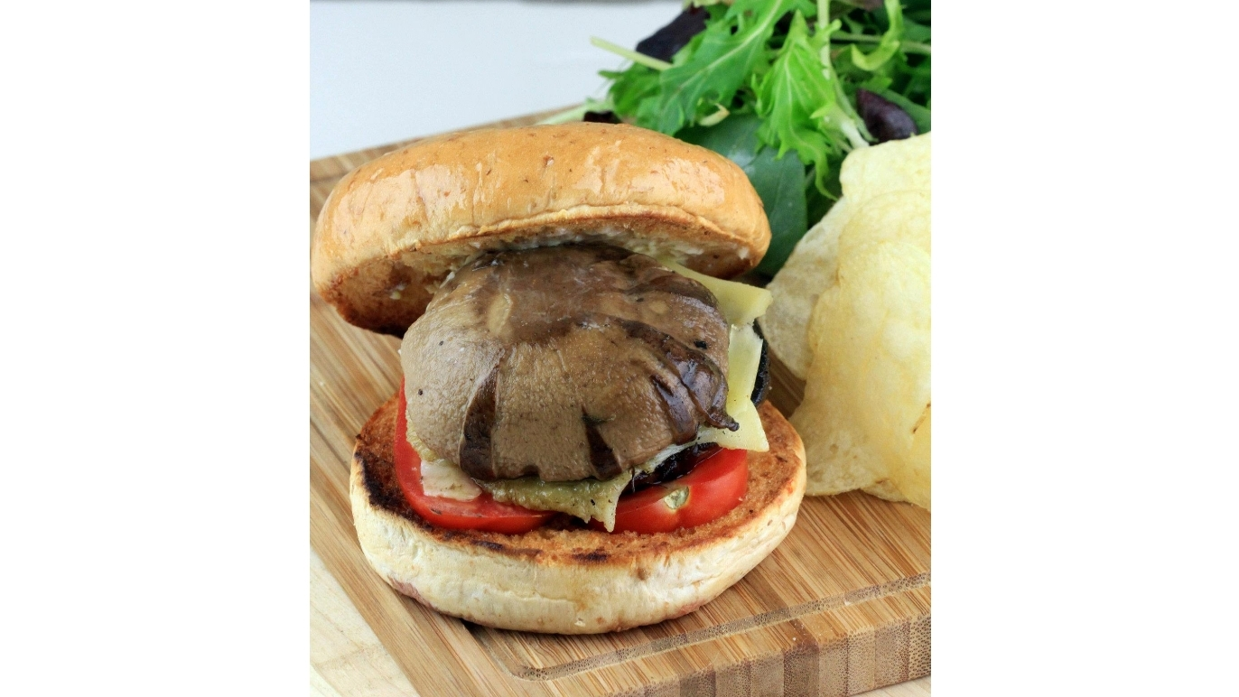 Portobello Prime Beef Burger at Two Blur Guys, $16.50