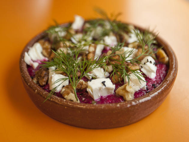 Beetroot borani with feta, dill and walnuts at Morito