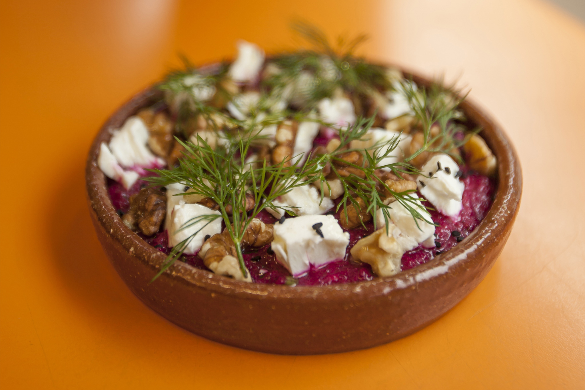 Beetroot borani with feta, dill and walnuts at Morito