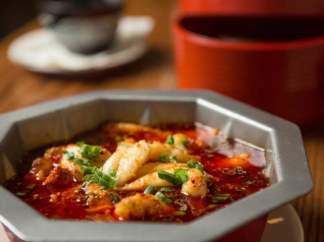 Boiled fish fillets in chili sauce at Szechuan Impression
