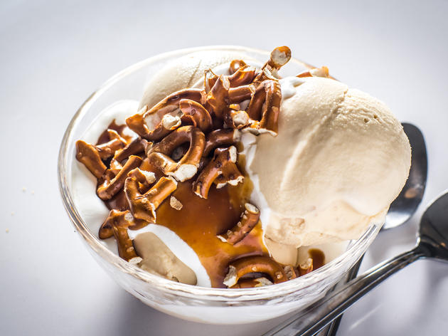 Salted caramel pretzel standard at Morgenstern's Finest Ice Cream
