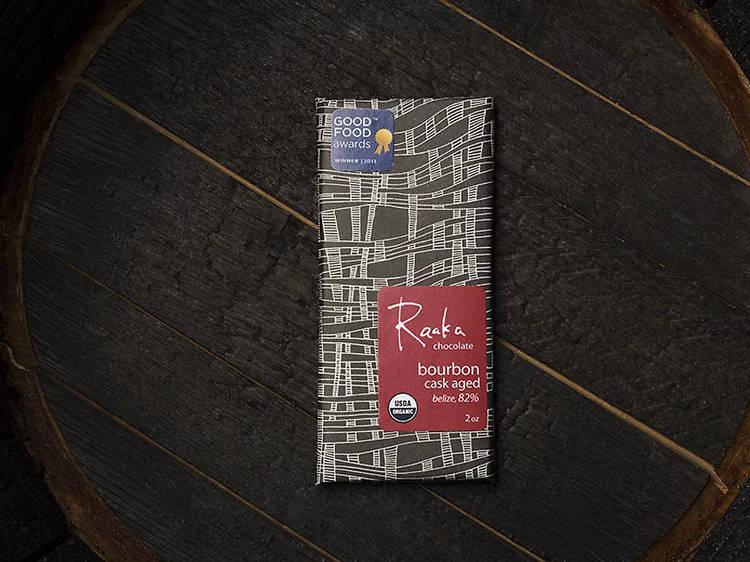 Bourbon cask aged chocolate at Raaka Chocolate