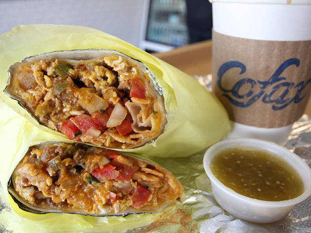 Chorizo breakfast burrito at Cofax