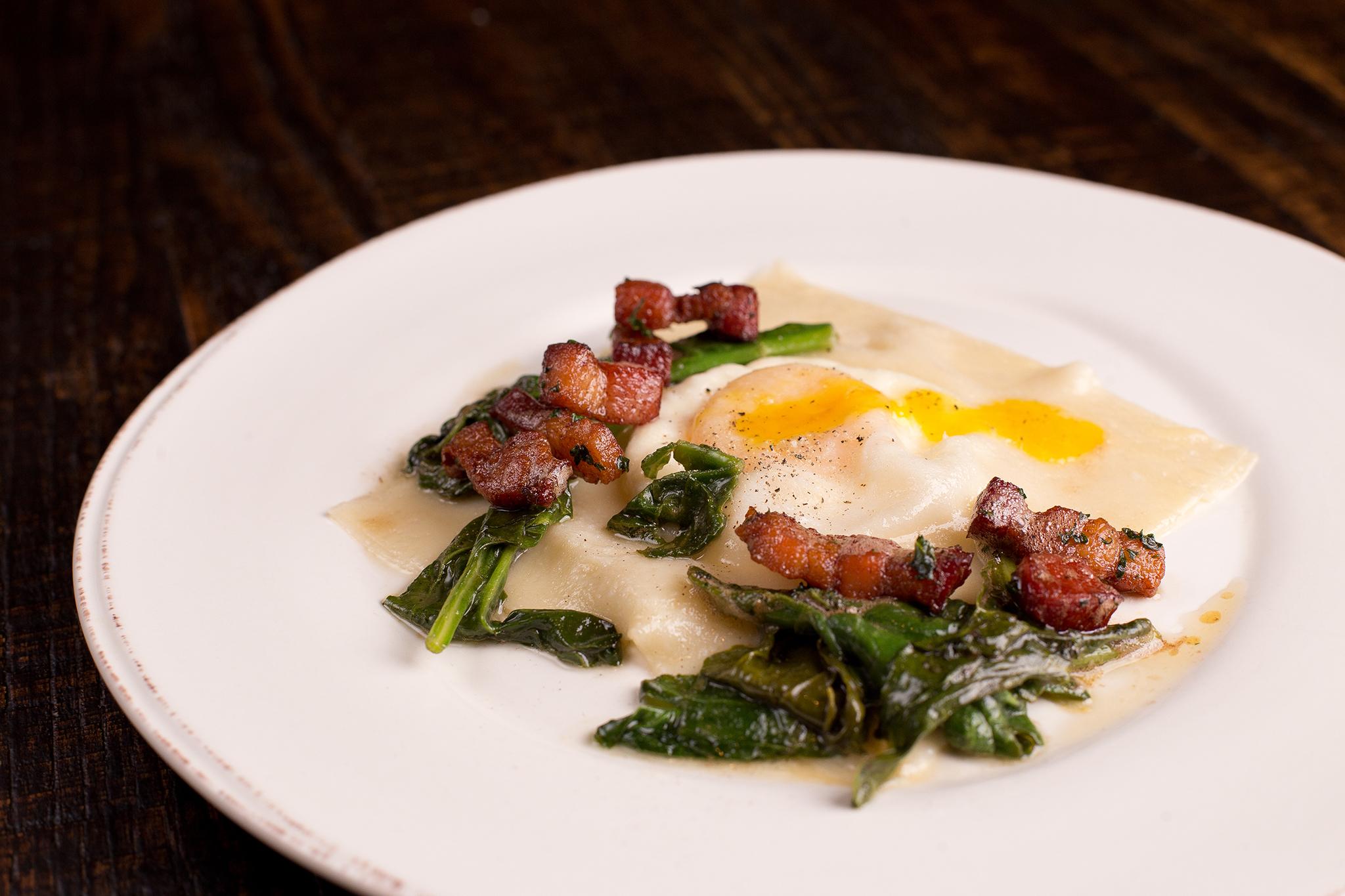 Bacon and eggs ravioli at Tanzy