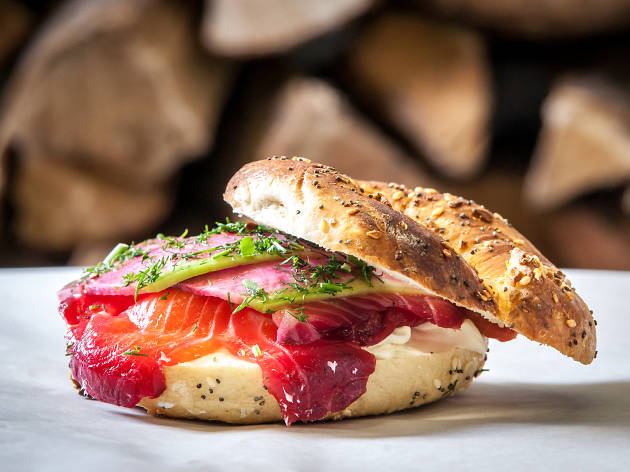 BLACK SEED everything bagel beet-cured salmon horseradish cream cheese radish herbs