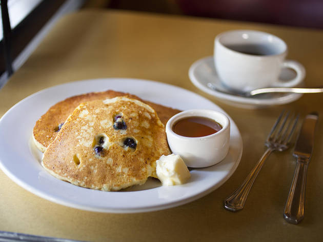 Ricotta cheese and fresh blueberry pancakes at Little Dom's