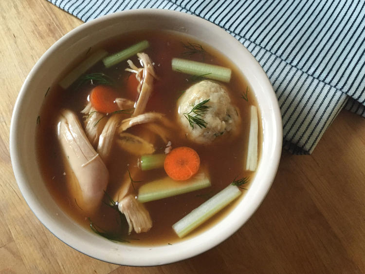 Matzo-ball soup at Peck's Specialty Foods