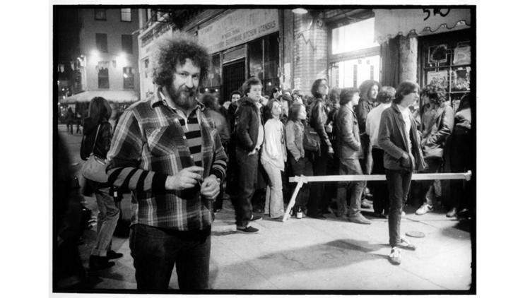 photo (c) David Goodlis.  Hilly Kristal at CBGBs