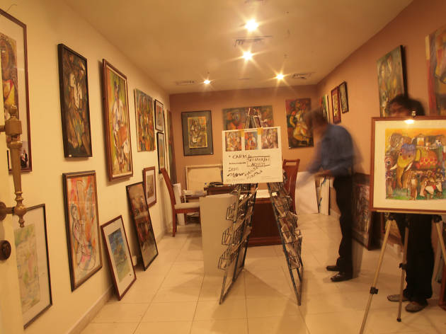 A gallery displaying a wide collection of artwork