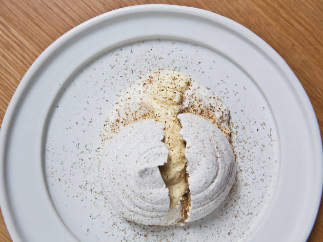 Corn husk meringue at Cosme in New York, NY
