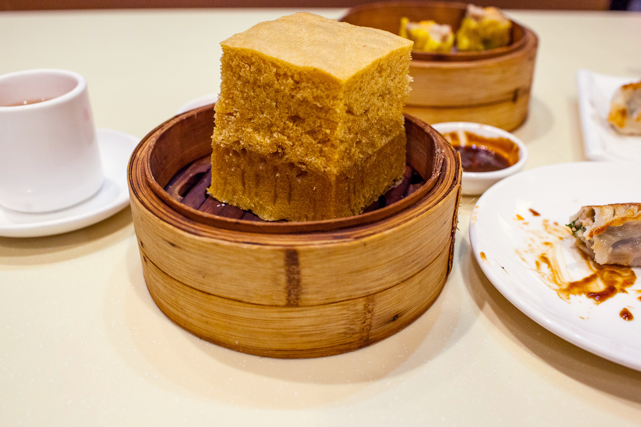 Malay sponge cake at MingHin This brown sugar cake, so light it barely fills you up, is the perfect cap to a hearty dim sum session. $3.15.