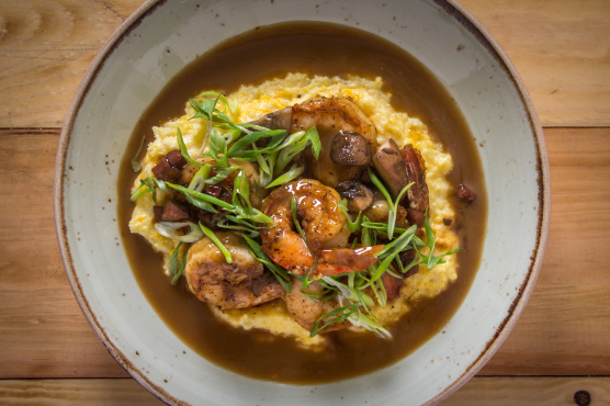 Shrimp and grits at Birds & Bubbles