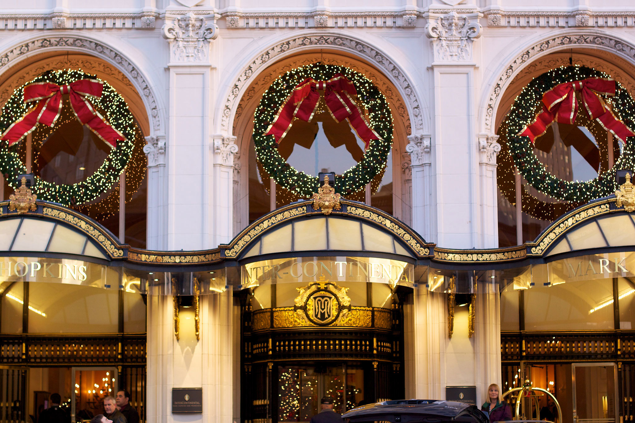 Christmas decorations at the Intercontinental Mark Hopkins