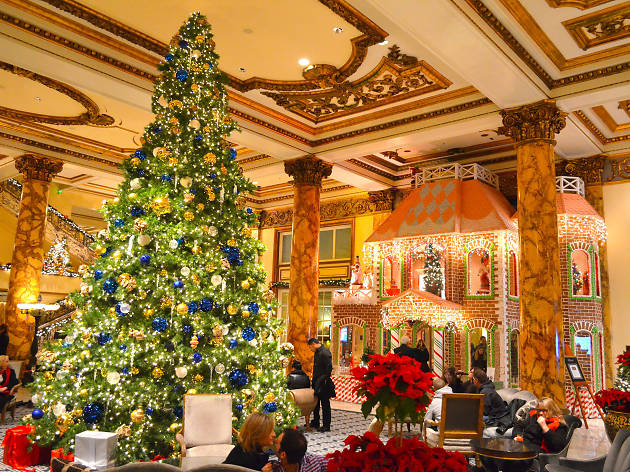 christmas tree at giant gingerbread house at fairmont hotel - Neiman Marcus Christmas Decor