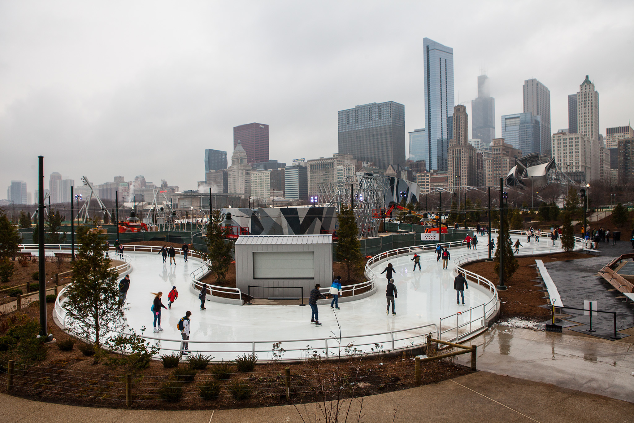 The ice ribbon at Maggie Daley Park.