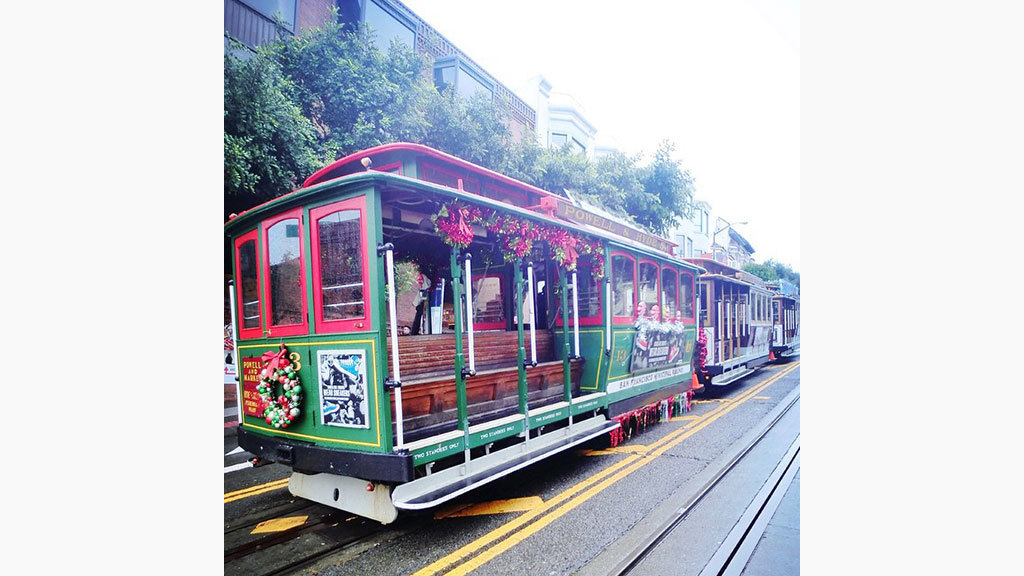 Decked out cable car
