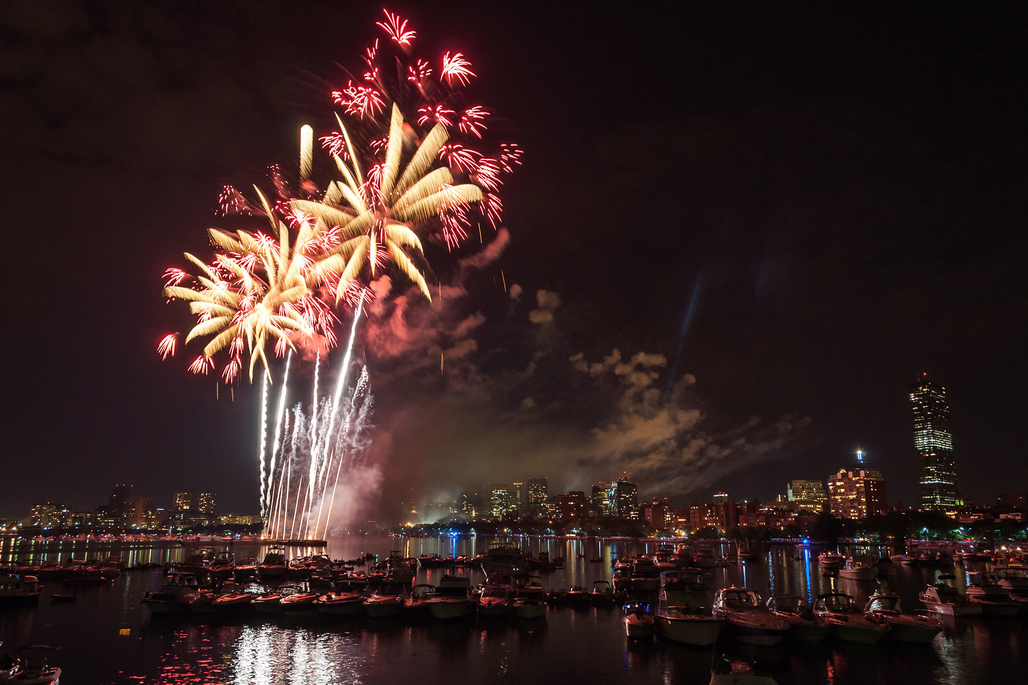 Fireworks over Boston Harbor