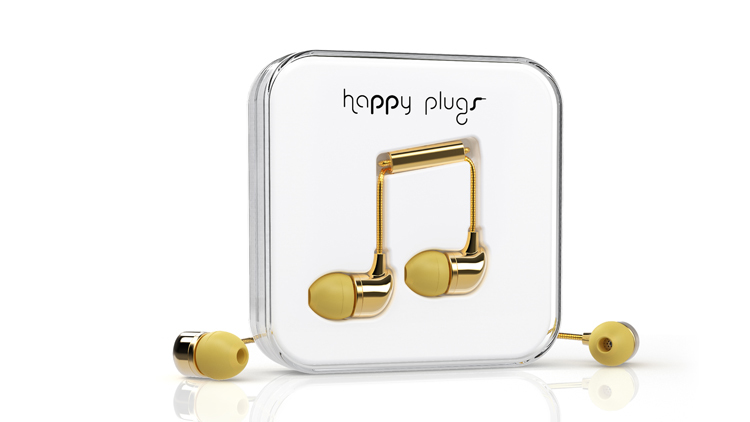 Happy Plugs gold earphones