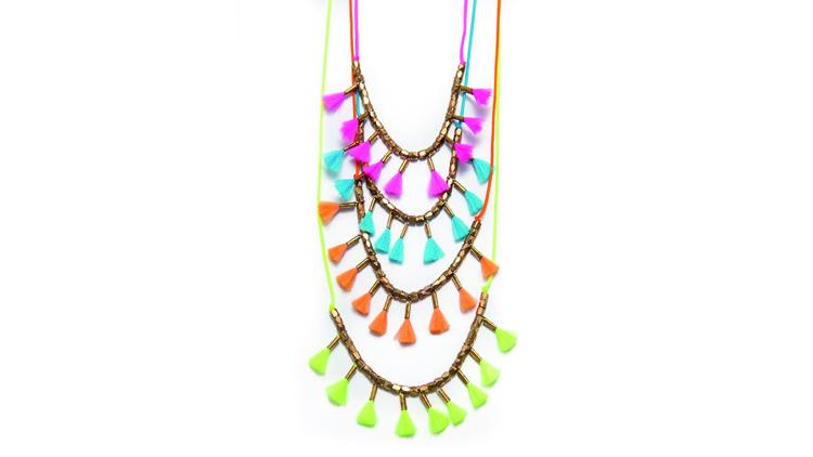 Angle diamond dot 14k gold bead fluorescent adolescent tassel necklace