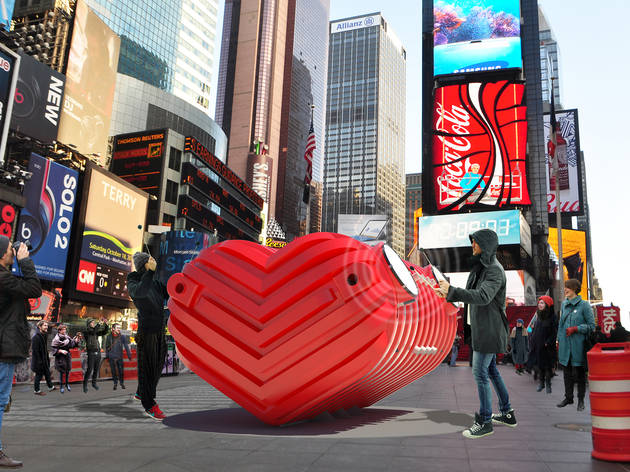 Time's Square beating-heart installation is unlikely to be still on Valentine's Day