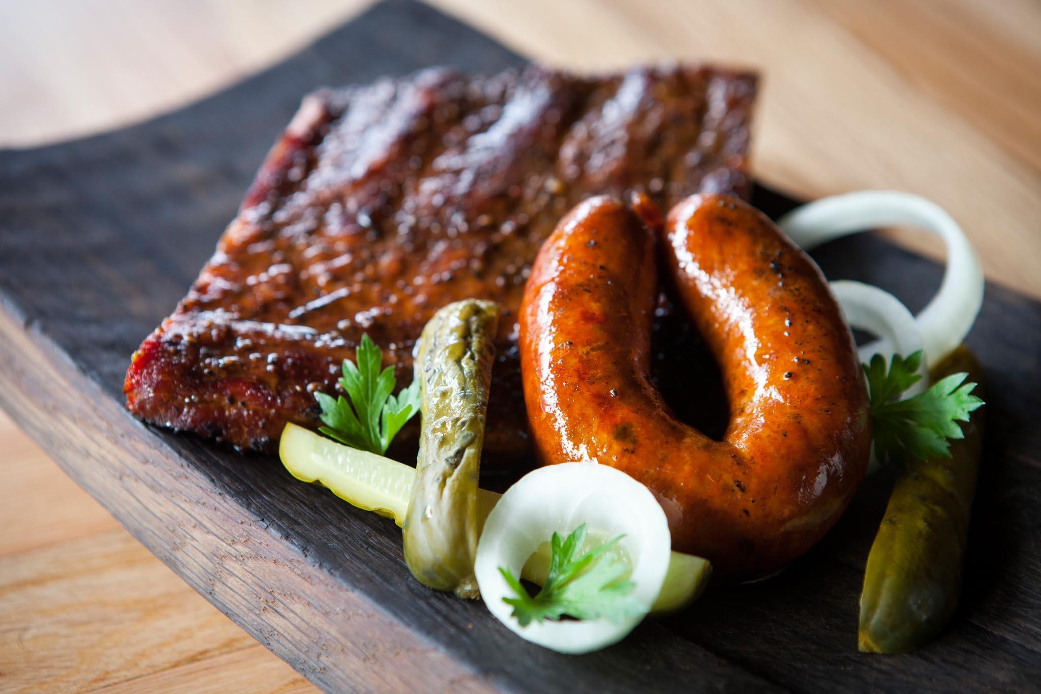 1/2lb spare ribs plus sausage at Barrel & Ashes