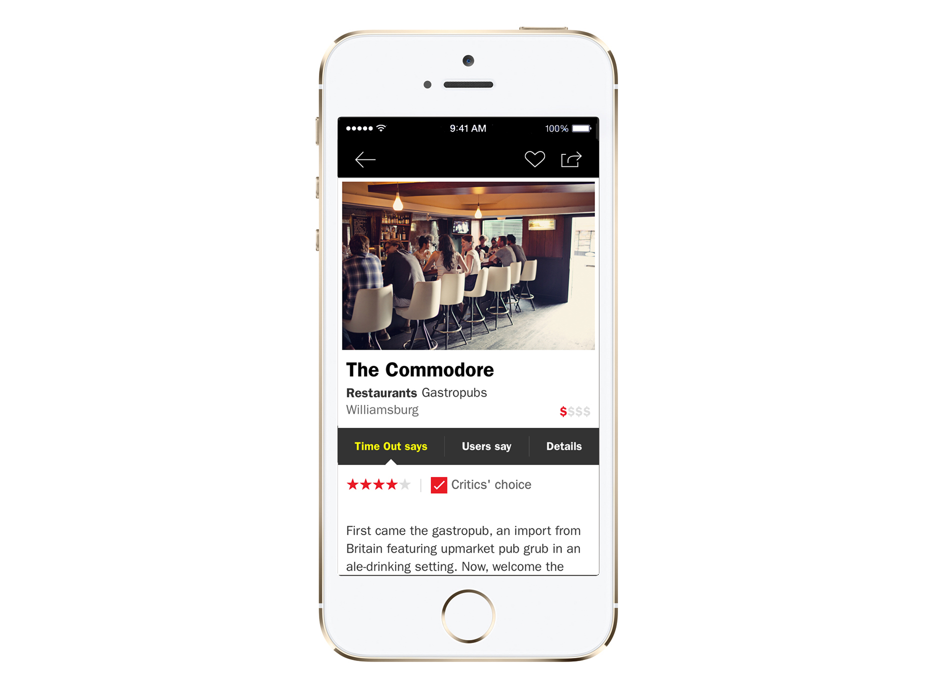 Time Out USA app for iPhone