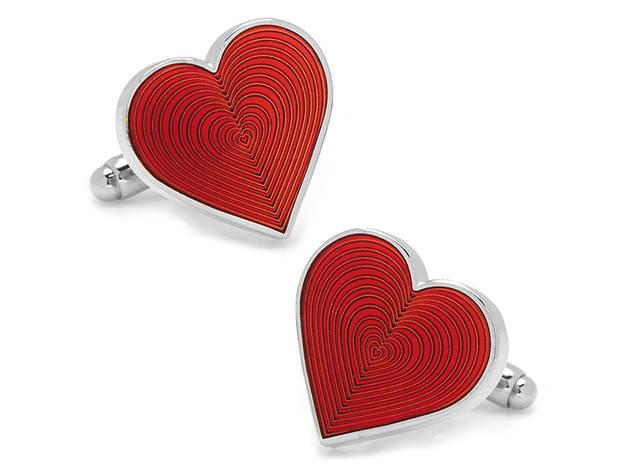 Black Pouch Valentines Day Cufflinks~Love Flower Heart Cufflinks